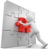 Puzzle lösendes Männchen